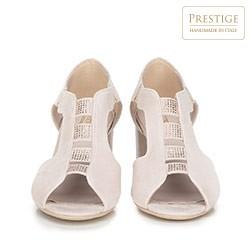 Damskie sandały na słupku zamszowe z wycięciami, jasny beż, 90-D-650-9-37, Zdjęcie 1
