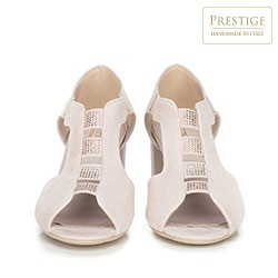 Damskie sandały na słupku zamszowe z wycięciami, jasny beż, 90-D-650-9-40, Zdjęcie 1