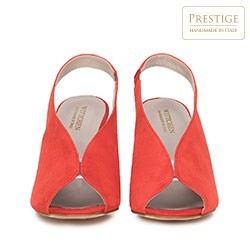 Damskie sandały zamszowe na słupku z gumką, czerwony, 90-D-651-3-36, Zdjęcie 1
