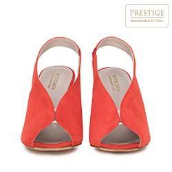 Damskie sandały zamszowe na słupku z gumką, czerwony, 90-D-651-3-37, Zdjęcie 1