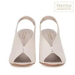 Damskie sandały zamszowe na słupku z gumką, jasny beż, 90-D-651-9-38, Zdjęcie 1