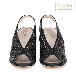 Damskie sandały na słupku ażurowe z gumką, czarny, 90-D-652-1-36, Zdjęcie 1
