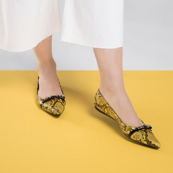 Baleriny ze skóry lizard z ćwiekami, żółto - czarny, 90-D-905-Y-37, Zdjęcie 1
