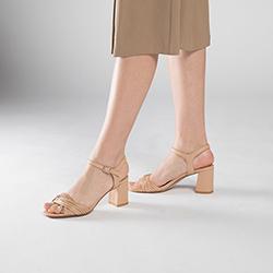 Damskie sandały skórzane na słupku z cienkimi paseczkami, jasny beż, 90-D-907-1-40, Zdjęcie 1