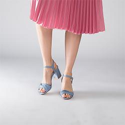 Damskie sandały skórzane na słupku z cienkimi paseczkami, niebieski, 90-D-907-N-39, Zdjęcie 1