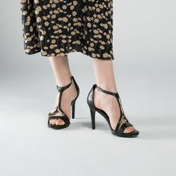 Damskie sandały skórzane na szpilce ze złotą ozdobą, czarny, 90-D-908-1-37, Zdjęcie 1