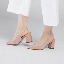 Sandały na słupku zamszowe z czubkiem w szpic, jasny beż, 90-D-957-9-38, Zdjęcie 1