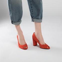 Czółenka zamszowe na słupku peep toe, czerwony, 90-D-959-3-35, Zdjęcie 1