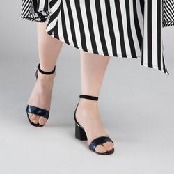 Sandały skórzane na słupku klasyczne, czarny, 90-D-960-1-36, Zdjęcie 1