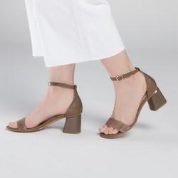 Sandały skórzane na słupku klasyczne, taupe, 90-D-960-8-40, Zdjęcie 1