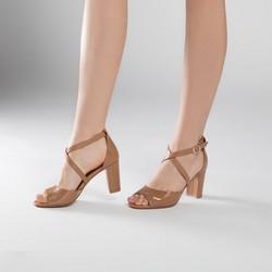 Sandały skórzane na słupku z zakrytą piętą, jasny brąz, 90-D-963-5-37, Zdjęcie 1