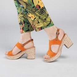 Sandały zamszowe na słupku na sznurkowej platformie, pomarańczowy, 90-D-964-6-38, Zdjęcie 1