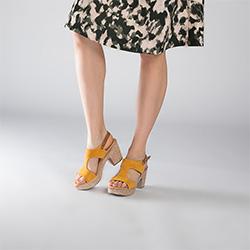 Sandały zamszowe na słupku na sznurkowej platformie, żółty, 90-D-964-Y-40, Zdjęcie 1