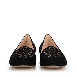 Baleriny zamszowe ażurowe, czarny, 90-D-965-1-35, Zdjęcie 1
