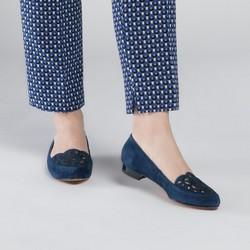 Baleriny zamszowe ażurowe, niebieski, 90-D-965-7-37, Zdjęcie 1