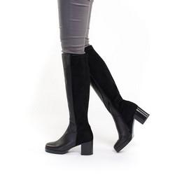 Women's platform knee high boots, black, 91-D-962-1-37, Photo 1