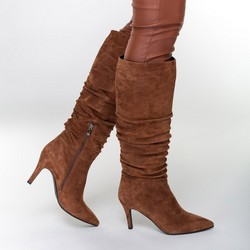 High stiletto heel knee high boots, light brown, 91-D-963-5-39, Photo 1