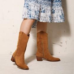 Mid-calf suede cowboy boots, camel, 92-D-050-5-35, Photo 1