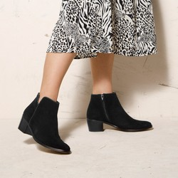 Suede cowboy ankle boots, black, 92-D-055-1-35, Photo 1