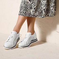 Damskie sneakersy ze skóry perforowanej, biało - czarny, 92-D-104-0-38, Zdjęcie 1