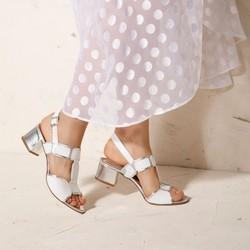 Damskie sandały ze skóry croco na słupku, biało - srebrny, 92-D-107-0-35, Zdjęcie 1