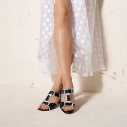 Damskie sandały ze skóry croco na słupku, czarno - srebrny, 92-D-107-1-39, Zdjęcie 1