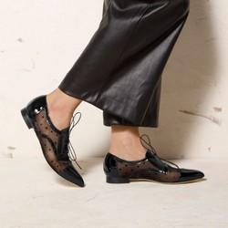 Leather polka dot mesh shoes, black, 92-D-111-1-38, Photo 1