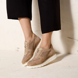 Suede fashion trainers with perforated upper, beige, 92-D-114-9-39, Photo 1