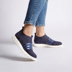 Damskie sneakersy zamszowe z gumką, granatowy, 92-D-116-7-39, Zdjęcie 1