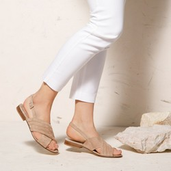 Damskie sandały zamszowe z paskami na krzyż, beżowy, 92-D-117-9-35, Zdjęcie 1