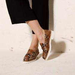 Damskie mokasyny ze skóry lizard na platformie, brązowo - beżowy, 92-D-127-5-35, Zdjęcie 1