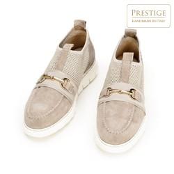 Damskie sneakersy z zamszu z siateczką, beżowo - srebrny, 92-D-129-9-35, Zdjęcie 1