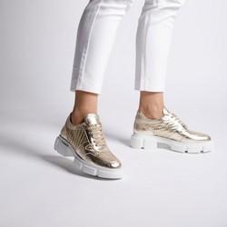 Damskie plecione sneakersy na platformie, złoty, 92-D-130-G-35, Zdjęcie 1