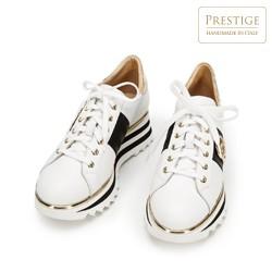 Damskie sneakersy skórzane na platformie, biało - czarny, 92-D-132-0-41, Zdjęcie 1