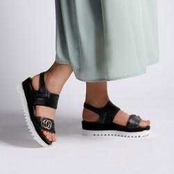 Damskie sandały skórzane z grubą gumką, czarny, 92-D-133-1-35, Zdjęcie 1
