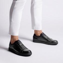 Damskie sneakersy skórzane na gumkę, czarny, 92-D-351-1-37, Zdjęcie 1