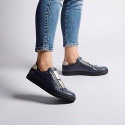 Damskie sneakersy skórzane na gumkę, granatowy, 92-D-351-7-35, Zdjęcie 1