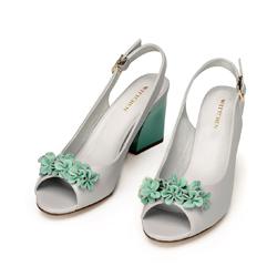 Block heel peep toe court shoes, grey - green, 92-D-552-8-35, Photo 1