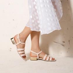 Damskie sandały ze skóry croco na złotym obcasie, beżowo - srebrny, 92-D-750-0-39, Zdjęcie 1