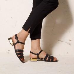 Damskie sandały ze skóry croco na złotym obcasie, czarny, 92-D-750-1-38, Zdjęcie 1