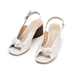 Damskie sandały skórzane na słupku z imitacji drewna, kremowy, 92-D-753-0-35, Zdjęcie 1