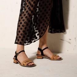 Damskie sandały zamszowe na trapezowym słupku, czarno - brązowy, 92-D-960-1-35, Zdjęcie 1