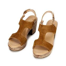 Damskie sandały z nubuku na koturnie, camelowy, 92-D-961-4-41, Zdjęcie 1