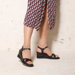 Damskie sandały skórzane na koturnie, czarny, 92-D-962-1-41, Zdjęcie 1