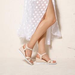 Damskie sandały skórzane na koturnie, beżowo - srebrny, 92-D-962-9-35, Zdjęcie 1