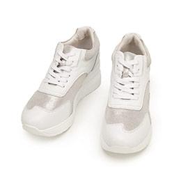 Damskie sneakersy ze skóry na platformie, biało - srebrny, 92-D-964-1-36, Zdjęcie 1