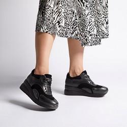 Damskie sneakersy ze skóry na platformie, czarny, 92-D-964-G-41, Zdjęcie 1