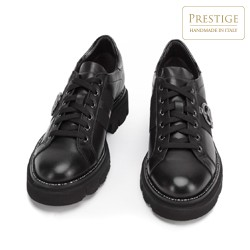 Women's leather lace up shoes with ring detail, black, 93-D-109-1-39_5, Photo 1