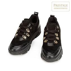Damskie sneakersy ze skóry zamszowej i croco, czarno - złoty, 93-D-301-1-36, Zdjęcie 1