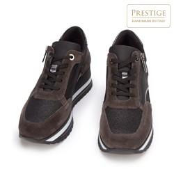 Damskie sneakersy zamszowe z suwakiem, brązowy, 93-D-651-8-35, Zdjęcie 1